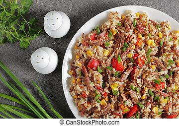 mélangé, riz, végétariens, boeuf