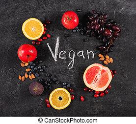 mélangé, vegan, sain, tableau noir, fruit, authentique, pf, arrière-plan., concept, sur