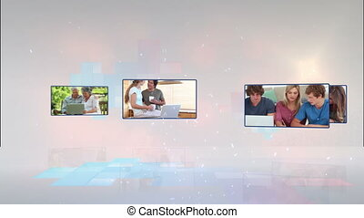 mélangé, vidéos, allumer, écrans