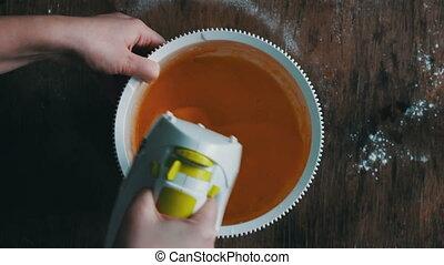 mélange, brouillage, oeufs, jaunes