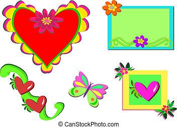 mélange, cadre, papillon, cœurs