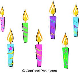 mélange, coloré, bougies
