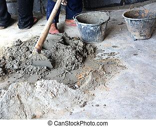 mélange, construction, demande, ciment