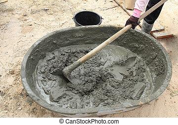 mélange, construction, demande, salver, ciment
