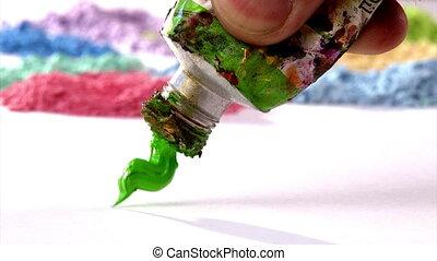 mélange, défaillance, coloriage vert, temps