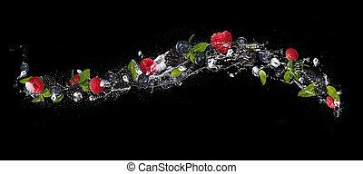 mélange, de, fruit baie, dans, eau, éclaboussure, isolé, sur, arrière-plan noir