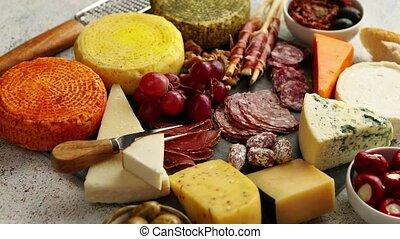 mélange, différent, apéritifs, délicieux, collations