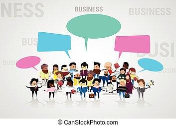 mélange, groupe, réseau, professionnels, communication, businesspeople, conversation, course, bavarder, social, discuter, dessin animé