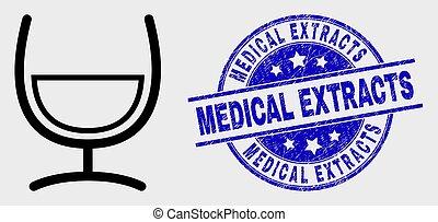 mélange, grunge, timbre, monde médical, verre, coup, vecteur, cachet, extracts, icône