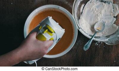 mélange, home., pâte, mixer., cuisine, électrique