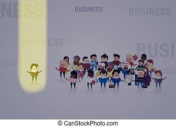 mélange, location, foule, ressource, business, candidat, gens, homme affaires, recrutement, course, stand, humain, équipe, groupe, projecteur, dehors