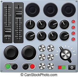 mélange, ou, contrôle, console