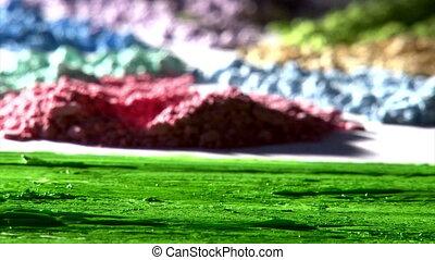mélange, peinture, vert