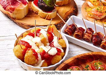 mélange, pintxos, tapas, nourriture, aussi, pinchos, ...