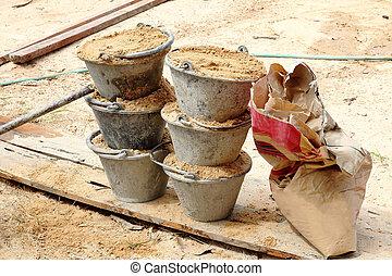 mélange, seau sable, ciment