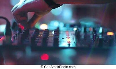 mélange, vidéo, gros plan, dj