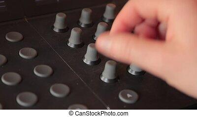 mélangeur, ajuster, son, bouton