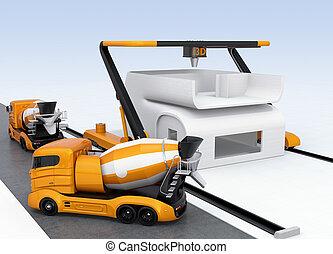 mélangeur concret, camions, et, 3d, imprimante