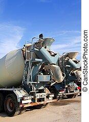 mélangeur concret, deux, camions, vue postérieure, grunge