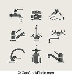 mélangeur, robinet, water-supply, soupape, eau, ensemble, robinet, icône