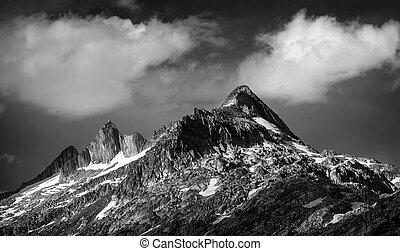 méltóságteljes, hegyek, táj
