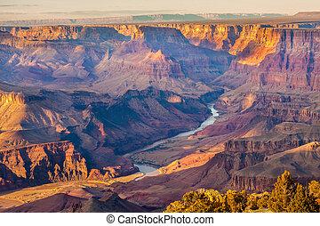 méltóságteljes, távlat, kanyon, nagy
