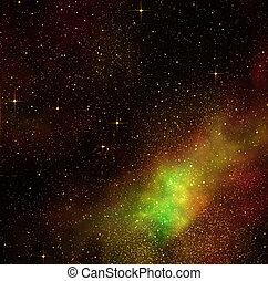 mély, hely, világegyetem, csillaggal díszít