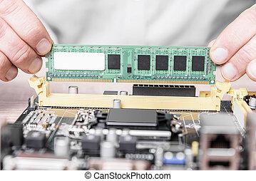 mémoire ordinateur, installation.
