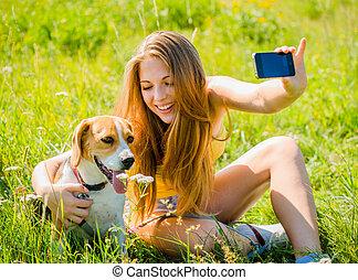 mémoires, femme, -, chien, heureux