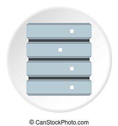 mémorisation des données, icône, plat, style