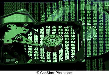 mémorisation des données, sauvegarde, et, restaurer, concept