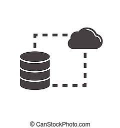 mémorisation des données, synchro, plat, icône