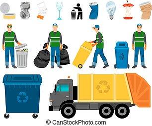 ménage, déchets ménagers, déchets, gaspillage, scavengery, camion, coloré, boîte, charognard, icons.