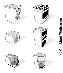 ménage, ensemble, appareils