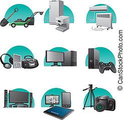 ménage, ensemble, appareils, icône