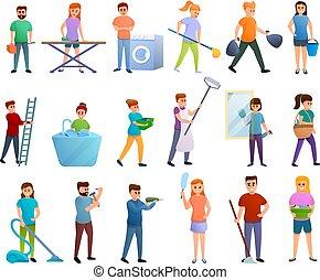 ménage, ensemble, icônes, dessin animé, style