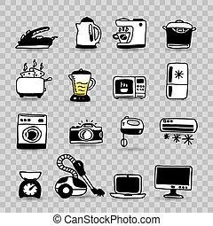 ménage, ensemble, isolé, appareils, icône