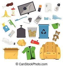 ménage, gaspillage, déchets, icônes