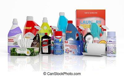 ménage, isolé, collection, produits, nettoyage, fond, blanc, 3d