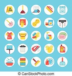 ménage, moderne, conception, toile, tools., bannière, icônes, set., équipement, matériels, plat, infographics, sites, nettoyage, graphique, mobile, vecteur, fournitures, concepts, app, rond, imprimé
