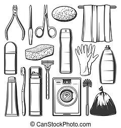 ménage, nettoyage, icônes, articles, hygiène, personnel