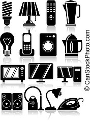 ménage, set., appareils, icônes