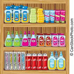 ménage, shelfs, chemicals.