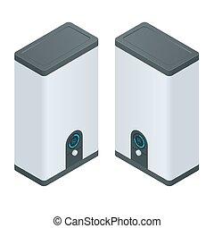 ménage, vecteur, électrique, maison, appliances., chauffage, boiler., isométrique, appareils, icons.