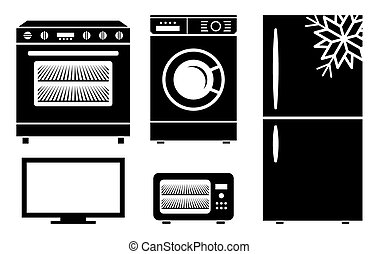 ménage, vecteur, appareils, icône