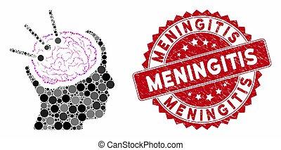 méningite, cerveau, gratté, collage, autopsie, timbre