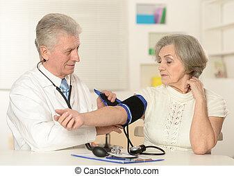 mérés, öregedő, orvos