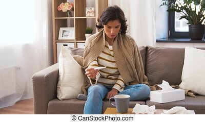 mérés, beteg, nő, hőmérséklet, lázmérő