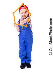 mérés, fiú, elkészített, épület, kiállítás, feláll, át,...