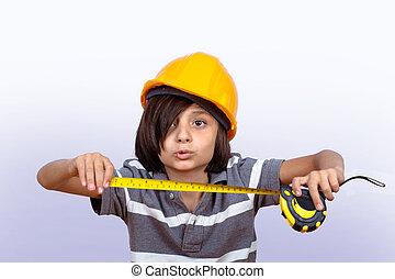 mérés, fiú, kevés, sisak, birtok, tape.